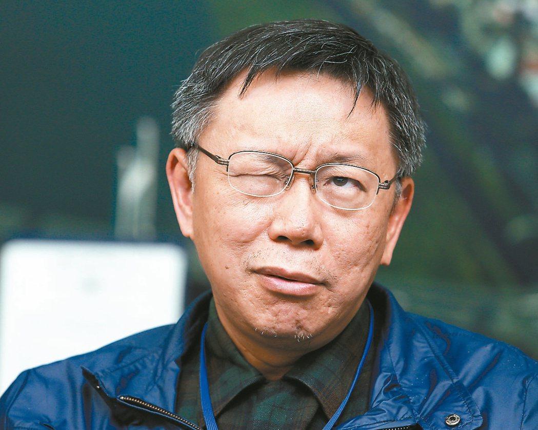 台北市長柯文哲接受聯合報系專訪,暢談施政理念。柯文哲展現過人的自信,不時展露笑容...