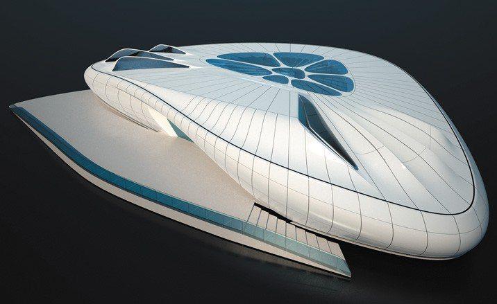 莎哈海蒂為香奈兒打造的「Mobile Art」展覽館,是可拆解建築,外型像是艘太...