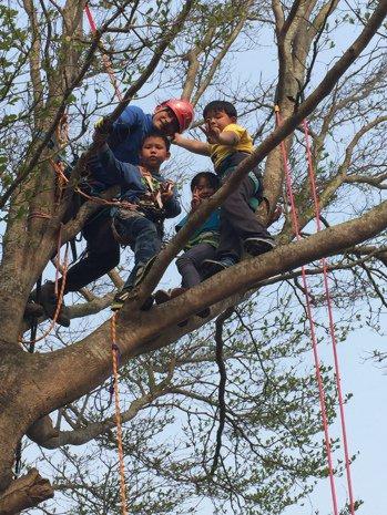 林義成老師教導學生利用繩索爬樹。圖/香田國小提供