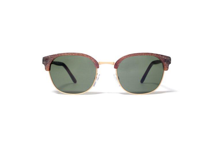 L.G.R木紋效果的半框太陽眼鏡,建議售價15,800元。圖/L.G.R提供