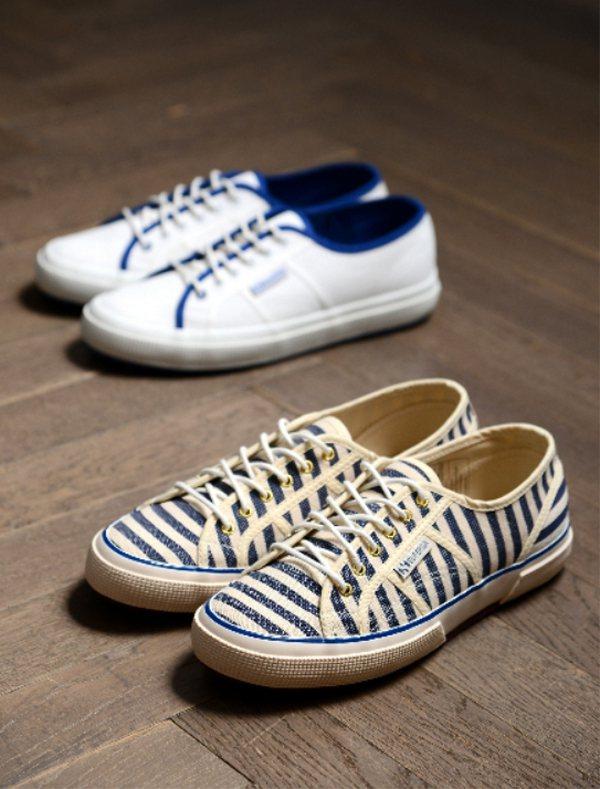 Scotch & Soda X superga條紋及藍白鞋,各售5,900元。圖...