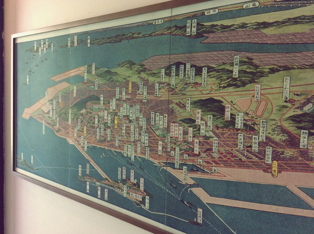 日治時代,由日人繪製仁川地圖。圖中已經幾乎無法辨識中國城的位置。 圖/作者李易安...