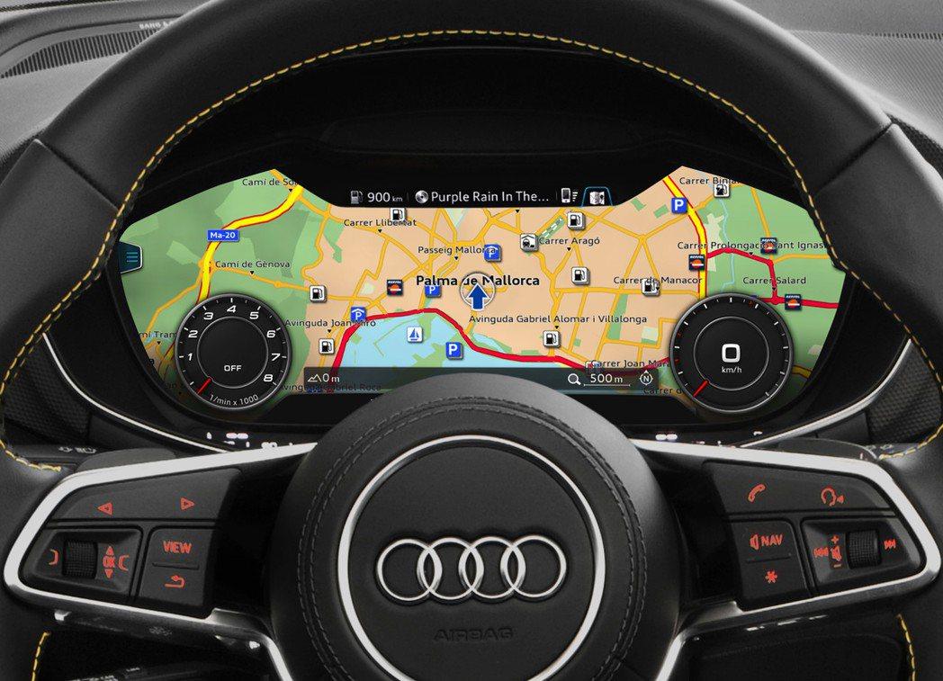 虛擬座艙科技讓車子傳統的儀表板和中控台等界面變成虛擬的液晶螢幕,如圖所示為AUD...