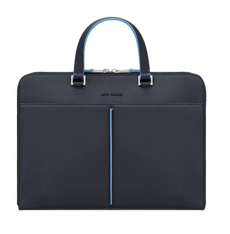 Dior Homme微風信義店限定商品,深藍色小牛皮雙提把文件夾公事包,74,0...