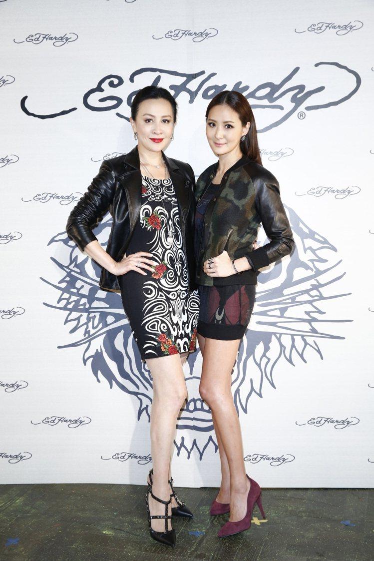 劉嘉玲(左)穿Ed Hardy服裝出席品牌活動。 本報資料照