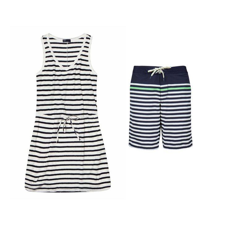 活力條紋無袖連衣裙、百搭經典休閒舒適短褲。圖/Gap提供