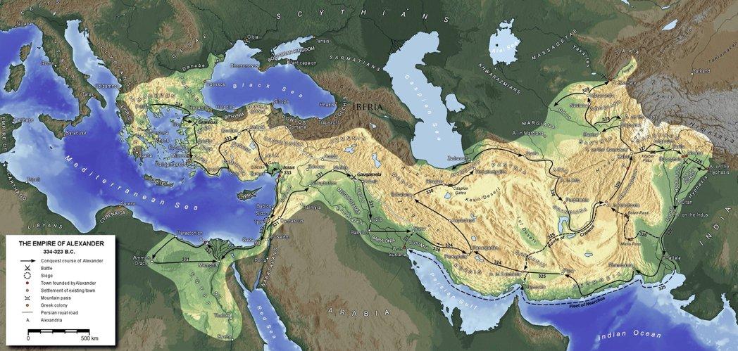 橫跨歐、亞、非洲的亞歷山大帝國,其雛形就是「馬其頓王國」。 圖/維基共享