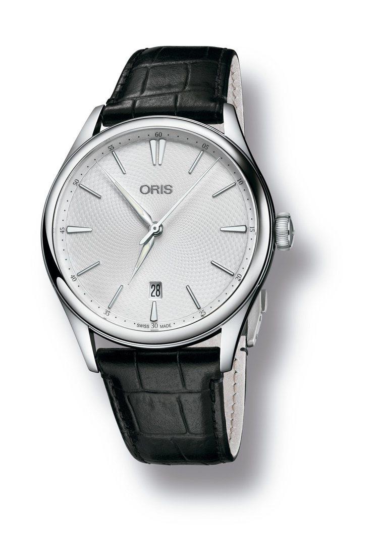 不鏽鋼表殼Arttelier日期腕表,46,000元。圖/Oris提供(搭在向經...