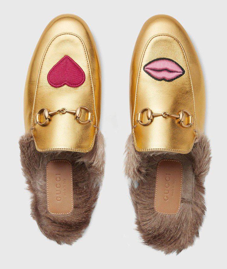 GUCCI Princetown馬銜鍊便鞋新款鞋面有紅唇和愛心圖案,28,700...