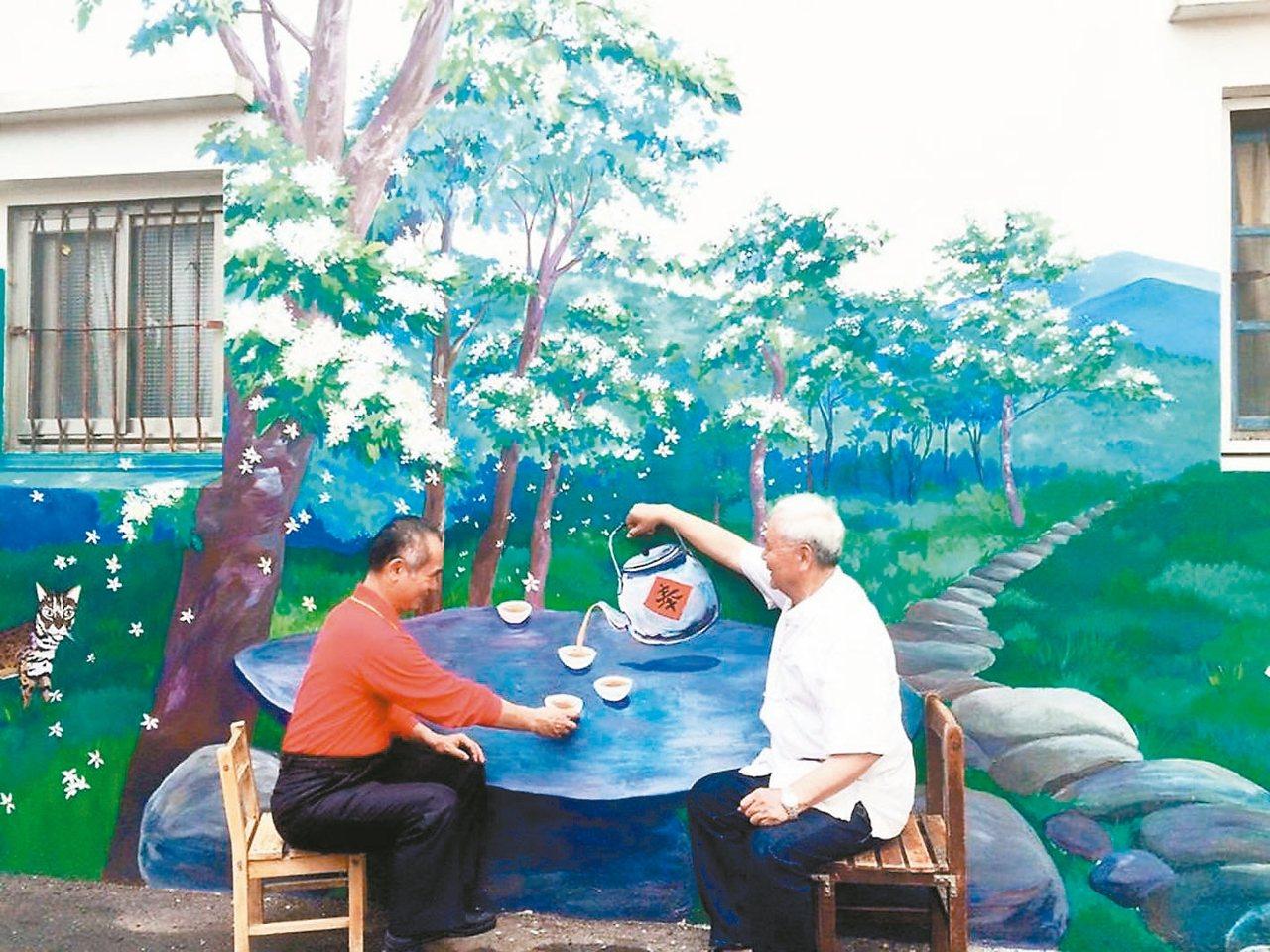 三義鄉公所昨天公布五穀宮前新3D彩繪,沿著彩繪走,可以到桐花步道。 圖/三義五穀...