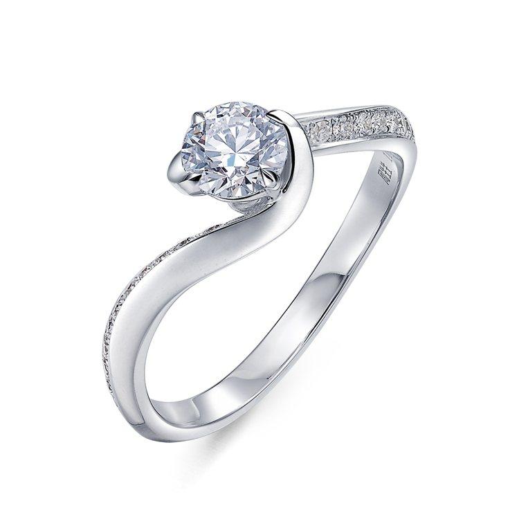 Infini Love Diamond Iconic系列18K白金鑽石戒指,主石...