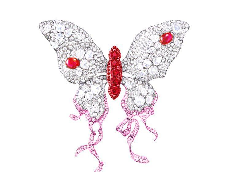 Anna Hu蝶樂系列浴火鳳蝶,是胸針也可當鍊墜。圖╱Anna Hu提供