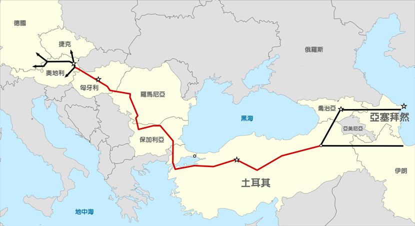 紅線為TANAP天然氣管線行經路線。 圖/維基共享圖