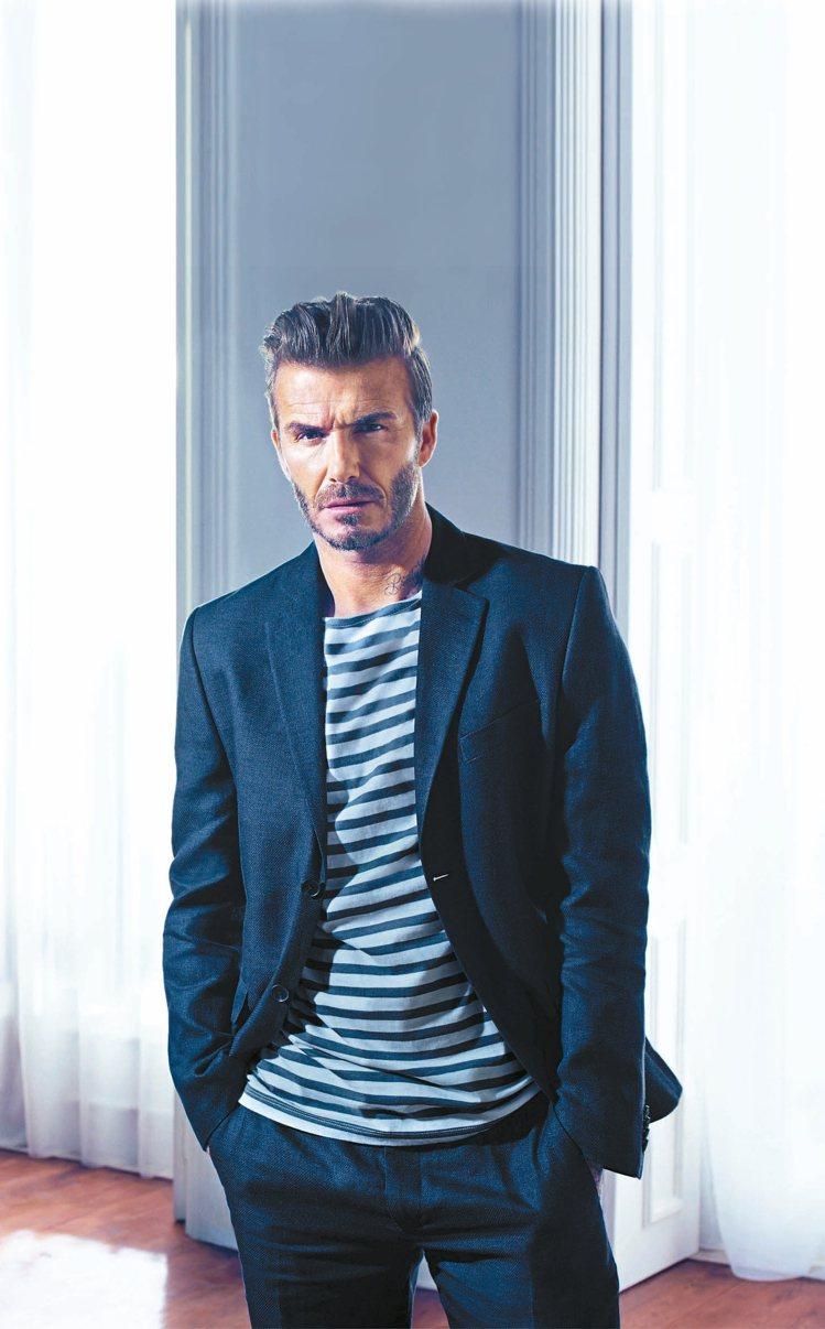貝克漢是平價服飾H&M的廣告代言人,推薦經典服飾。 圖/H&M提供