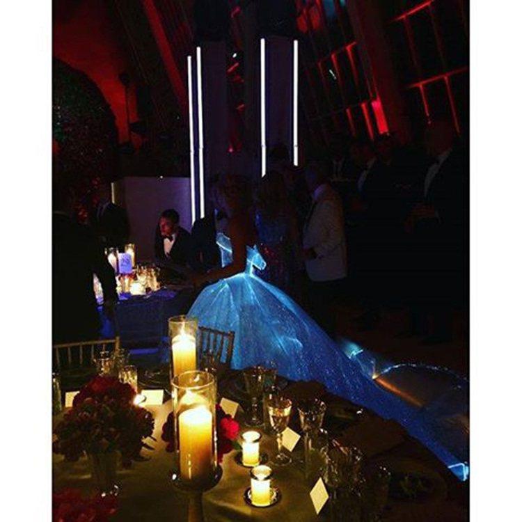克萊兒丹妮絲穿Zac Posen打造的發光禮服。圖/擷自劉雯臉書
