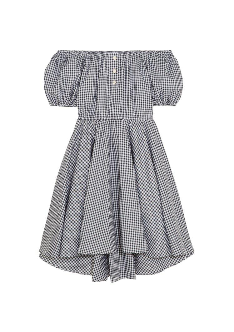 CAROLINE CONSTAS露肩格紋洋裝。圖/NET-A-PORTER提供