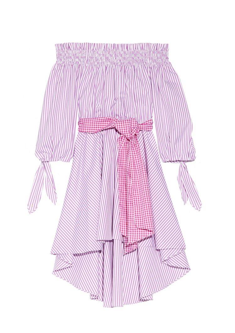 CAROLINE CONSTAS 條紋棉布洋裝。圖/NET-A-PORTER提供
