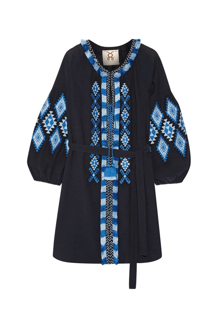 Figue民族風繡花棉混紡洋裝。圖/NET-A-PORTER提供