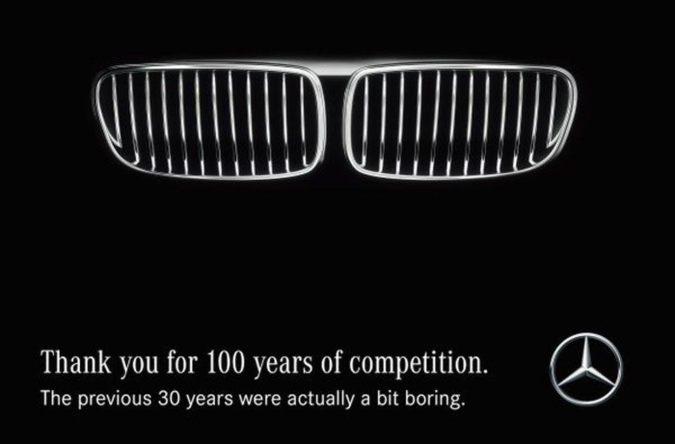「感謝BMW過去百年的競爭,沒有你的前30年有點無聊。」 圖/Mercedes-...