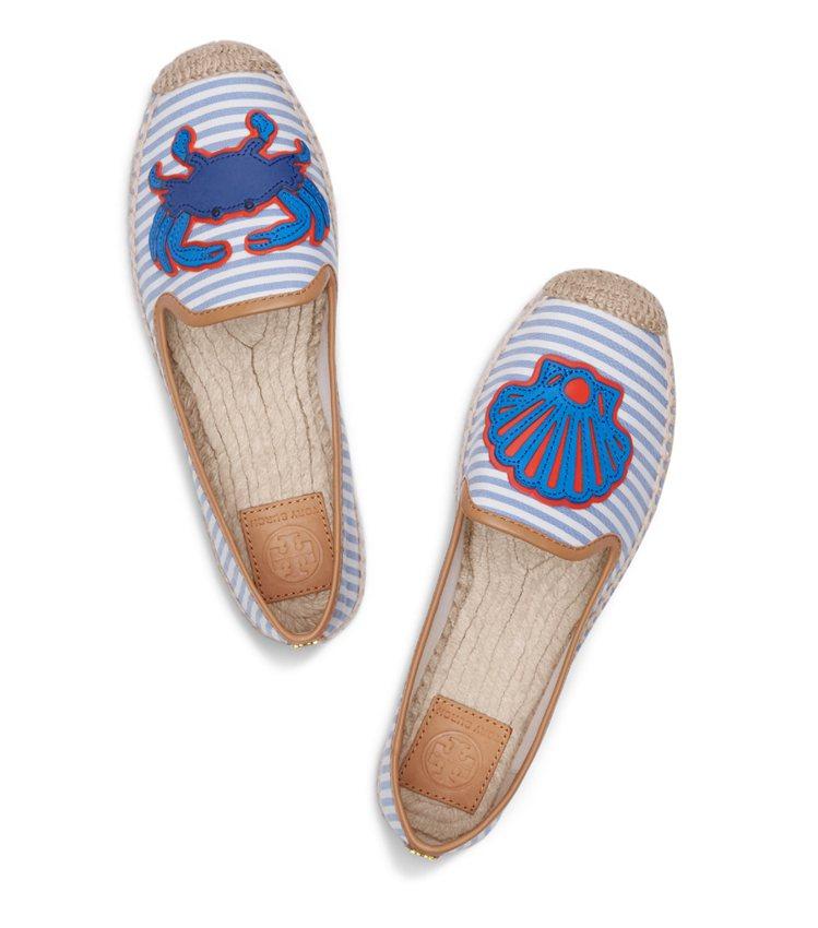 Tory Burch 條紋螃蟹草編鞋,590。圖/Tory Burch提供