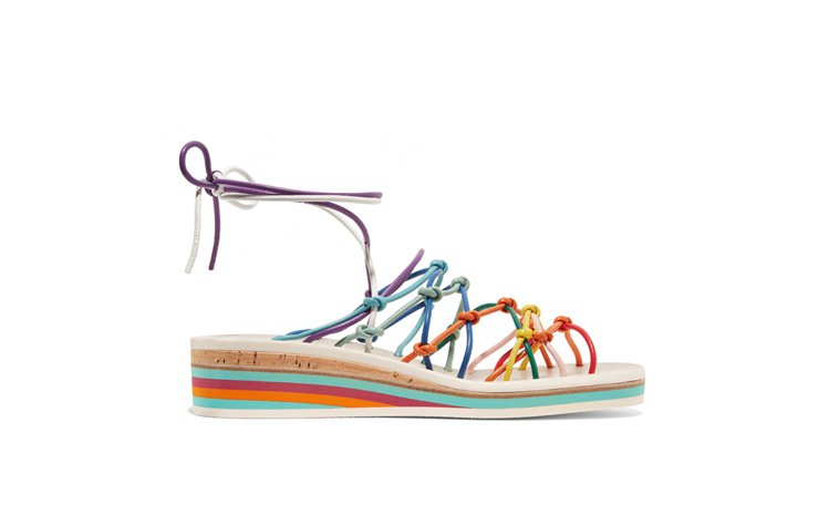 CHLOE彩色皮革涼鞋。圖/NET-A-PORTER提供