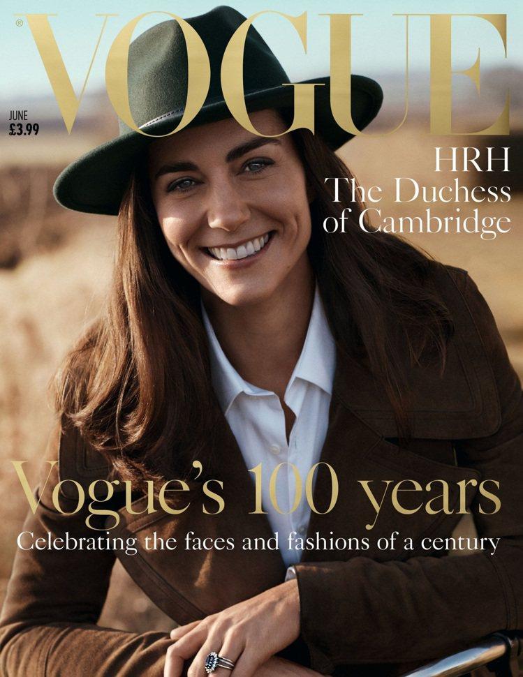 凱特王妃首度接受VOGUE專訪,登上雜誌封面。圖/擷自VOGUE封面