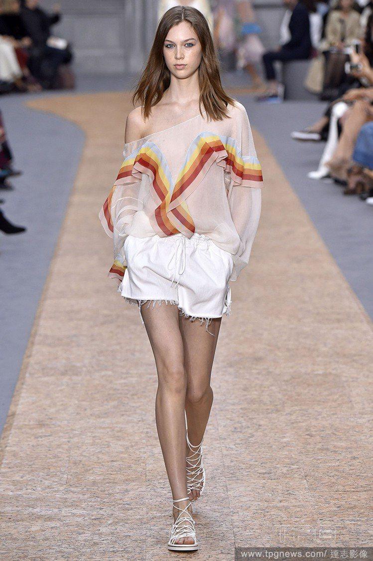 選擇像 Chloe 秀上這樣上寬下寬的配法也不錯,只要有腰帶或是鬆緊帶在兩件單品...