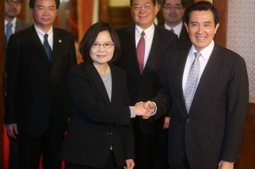 總統當選人蔡英文與現任總統馬英九會面。 圖/聯合報系