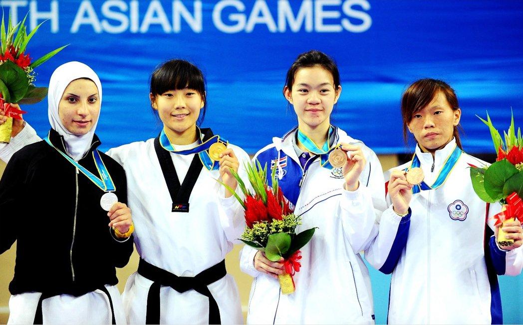 曾經代表伊朗在廣州亞運摘銀的跆拳道好手阿塞馬尼(左),在里約奧運上將轉代表比利時...