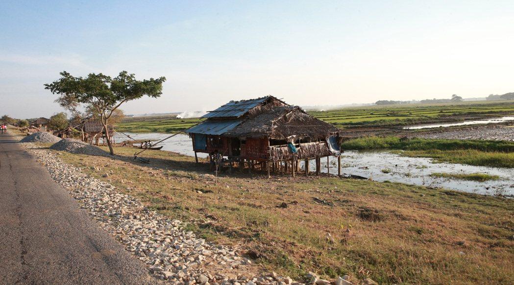 緬甸鄉村常見的稻草屋。 記者黃義書/攝影