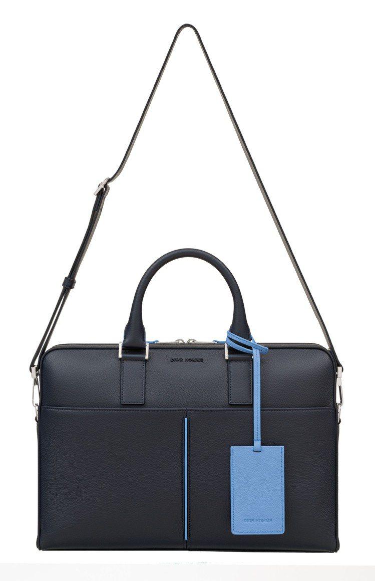 Dior Homme深藍色小牛皮公事包,12萬5,000元。圖/Dior提供