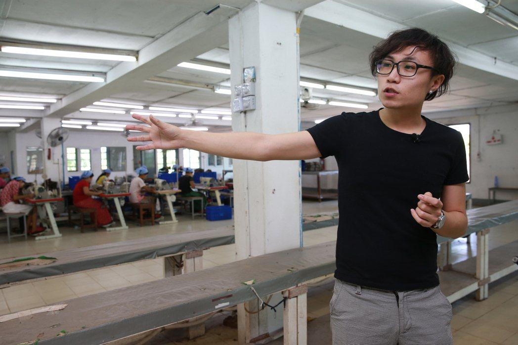 年僅26歲的嚴子昀在緬甸管一整個製帽廠。 記者黃義書/攝影
