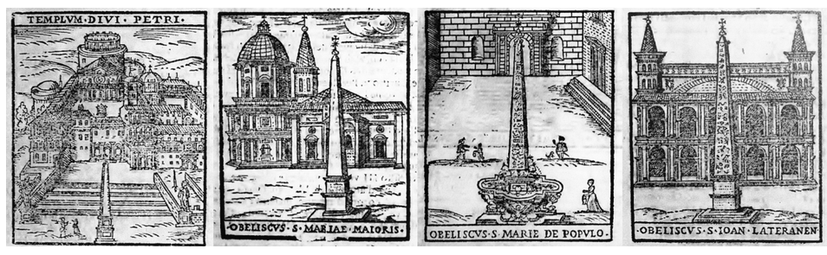 帶有方尖碑的城市景觀,皆由西斯圖斯五世豎立。 圖片/作者原文提供,版畫(1600...