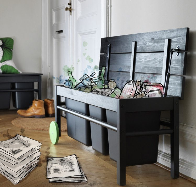 結合穿鞋凳與分類儲藏功能的ANVANDBAR儲物椅凳。圖/IKEA提供