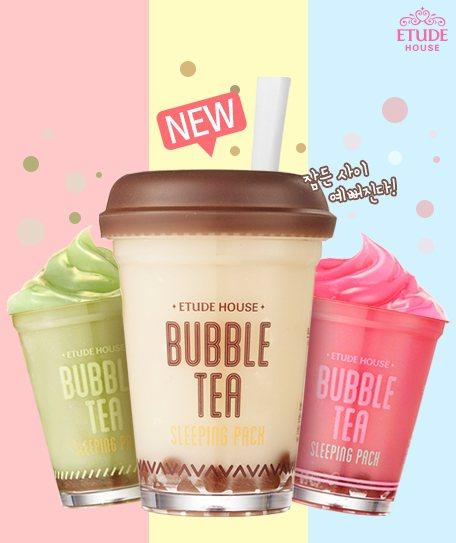 ETUDE HOUSE的珍珠奶茶晚安凍膜共有紅茶、綠茶、草莓三款,100g/59...