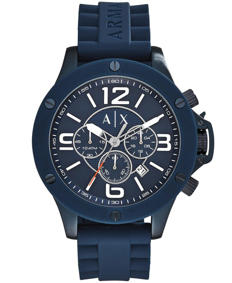 Armani Exchange 都會運動三眼計時腕表,8,400元。圖/Arma...