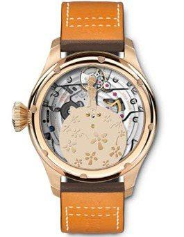 大型飛行員年曆「小王子」特別版腕表的自動盤以星球上的小王子為造型。圖/IWC提供