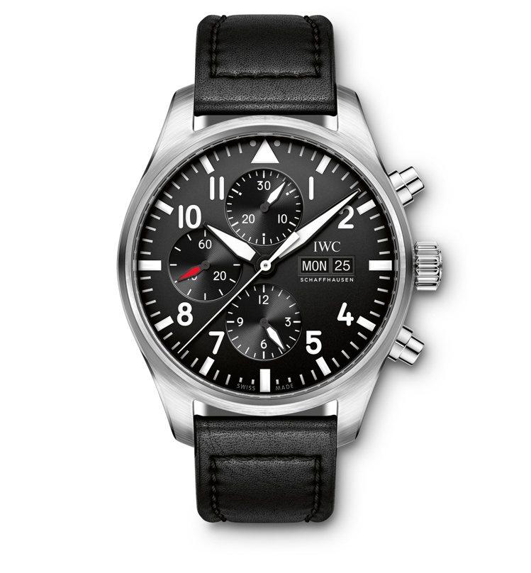 飛行員計時腕表,自動上鍊機芯, 43 mm精鋼表殼,17萬4,000元。圖/IW...