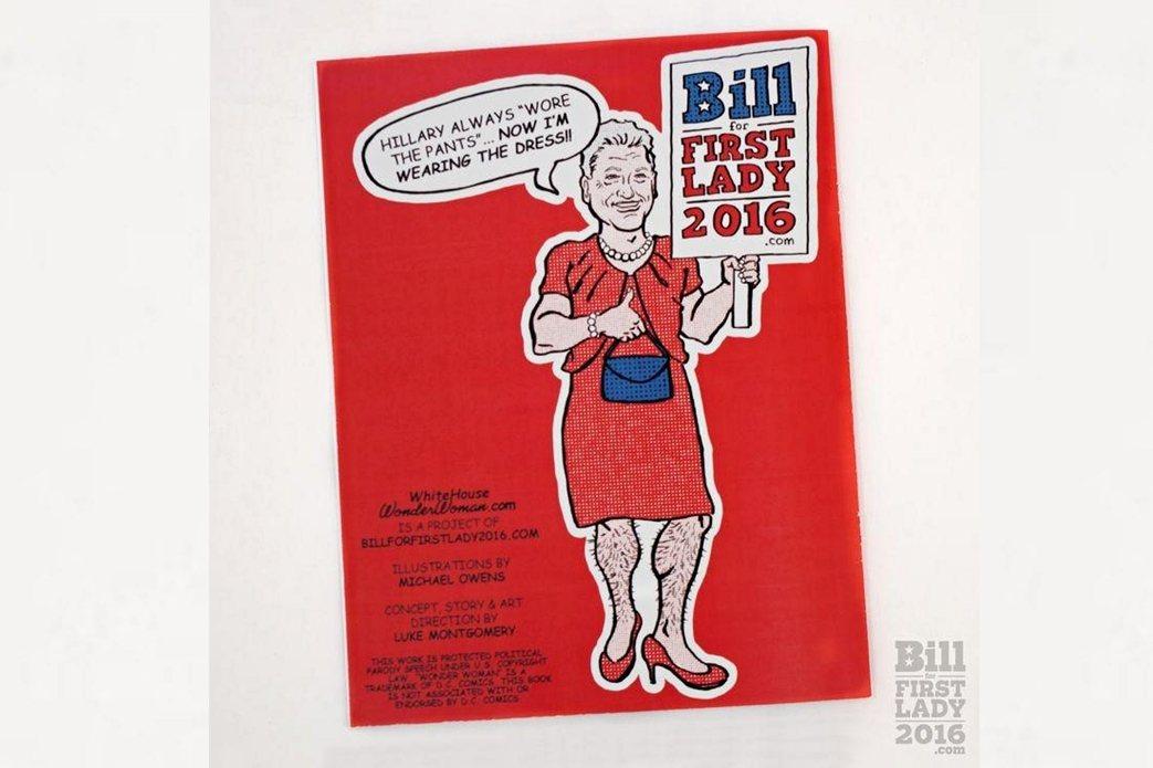 總統票投希拉蕊、同時送「比爾去當第一夫人」。 圖/比爾第一夫人網站