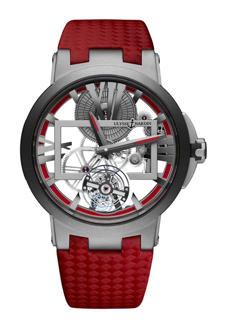 經理人鏤空陀飛輪腕表,UN-171手動上鍊機芯,鈦金屬表殼,限量99只。 圖/...