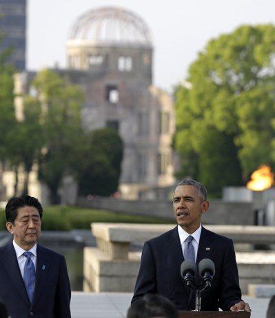 歐巴馬:廣島和長崎聞名於世的,不再是拂曉遭到原爆,而是道德覺醒的起頭。 (美聯社...