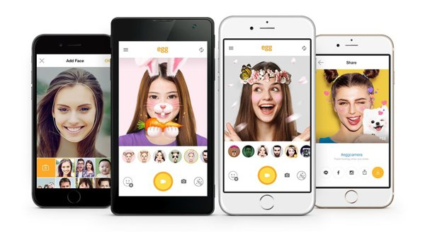 LINE推出免費自拍app egg。