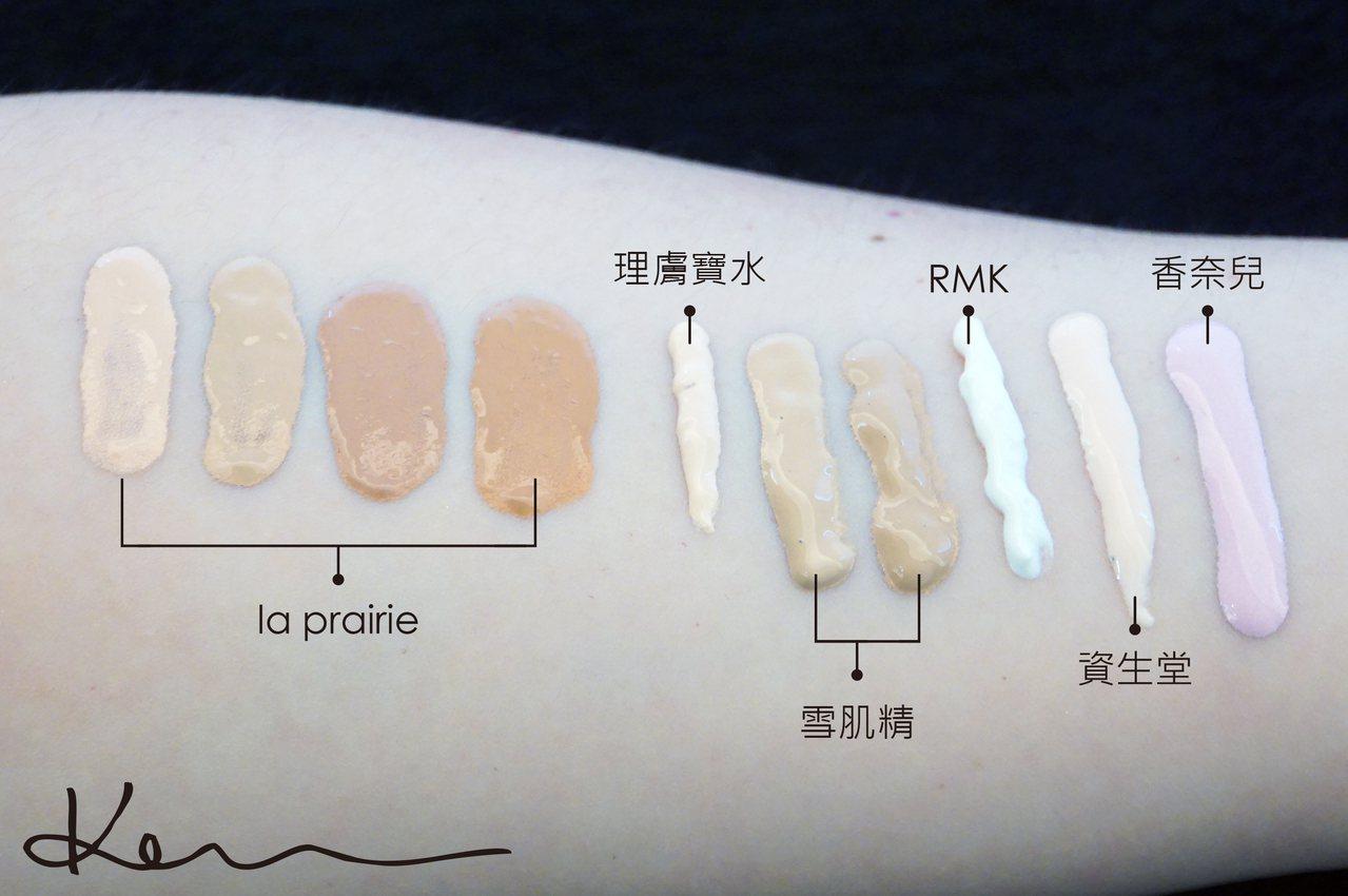 由左到右:la prairie. 瑞士新生光感進化潤色隔離乳 SPF30、理膚寶水. 全護清爽防曬液 SPF50 PPD33、雪肌精.  淨白草本CC霜  SPF50+ PA++++、RMK. 高效UV防護隔離霜 SPF45 PA++++、資生堂.心機星魅光控粧前乳 UV SPF25 PA+++、香奈兒.珍珠光感超淨白防護妝前乳 spf40/pa+++。Kevin提供