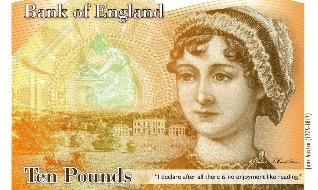 10鎊的珍.奧斯汀設計樣版:預計2017年發行。 圖/英格蘭銀行
