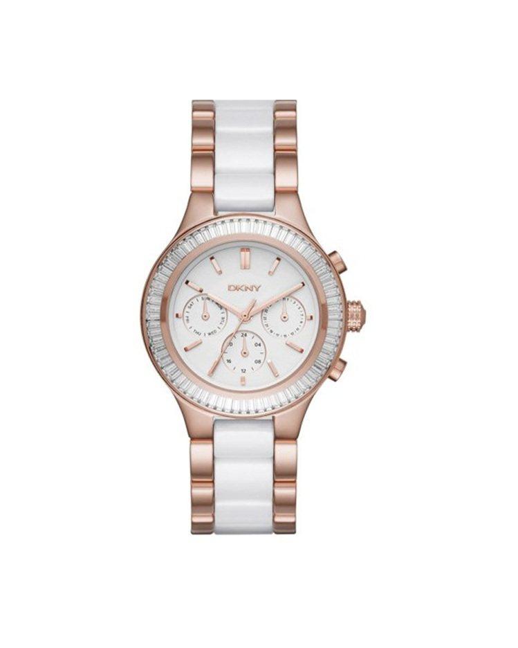 DKNY 三眼計時梯形水鑽女表,11,680元。圖/Fossil提供