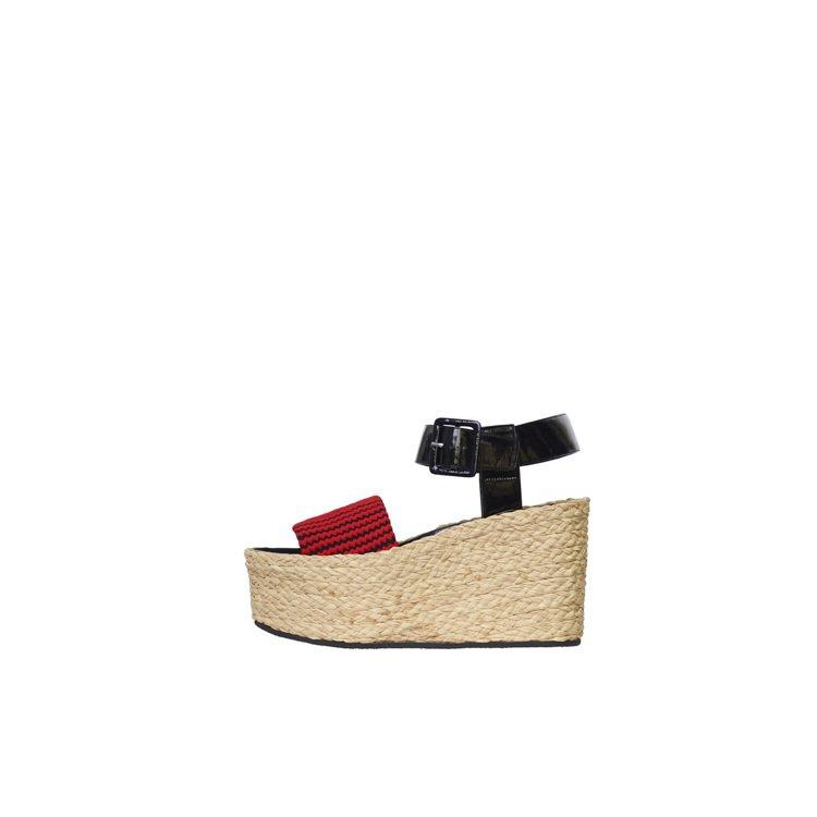 Spring Wedge紅黑條紋針織草編楔型涼鞋,42,000元。圖/CELIN...