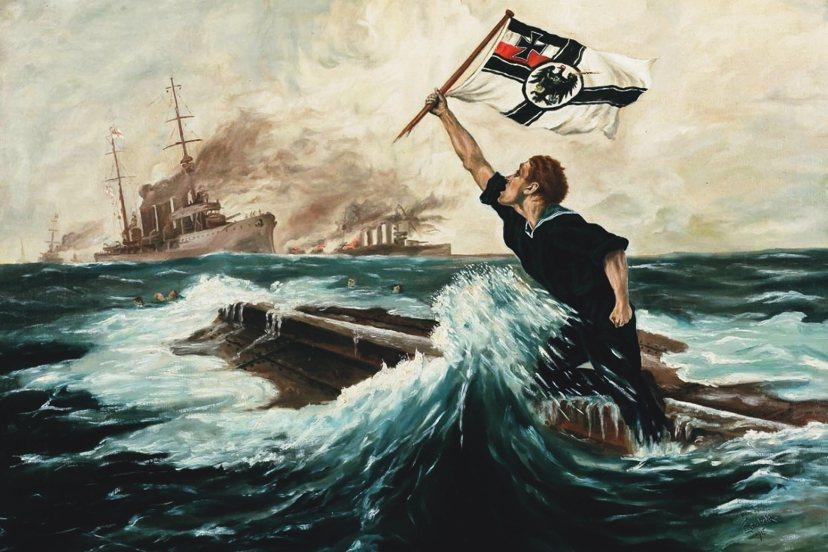 《最後一人》:這幅著名的一戰宣傳名畫,是由德國畫師Hans Bohrdt,在19...