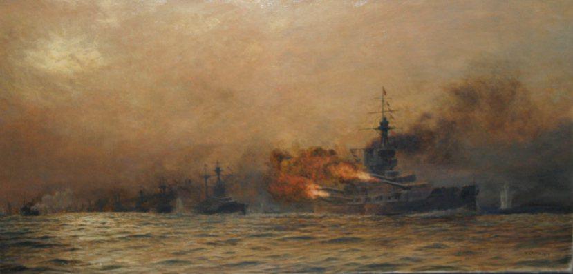 日德蘭海戰。這幅由英國畫師William Lionel Wyllie(1851-...