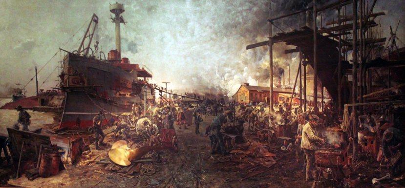 終其一生秉持普魯士本位主義的俾斯麥,始終不願發展「大海軍」。圖為建造中的德國海軍...