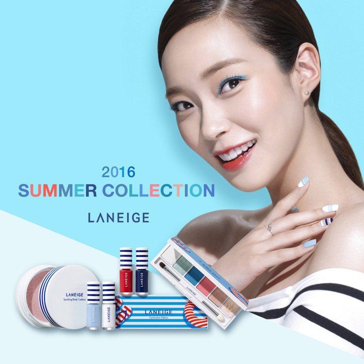 蘭芝推出「夏日水手玩色限量系列」,使用寧靜藍、天空白、太陽紅搭配海軍MIX條紋貫...